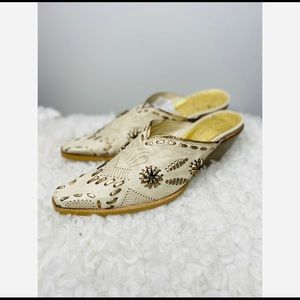 BCBGirls Cowboy Thalma Couture Gold Embossed Mules